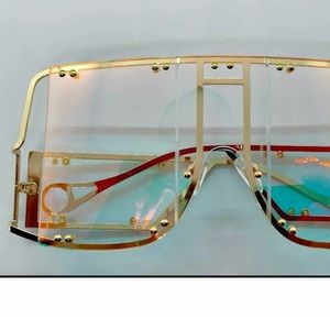 Aviator hologram iridescent sunglasses gold rave